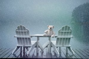 teddy bear on a cold winter day.