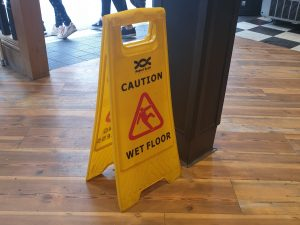 wet floor sign as a metaphor for anxiety response